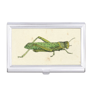 Bordered Print of Green Grasshopper Business Card Cases