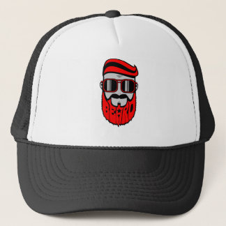 bore red trucker hat