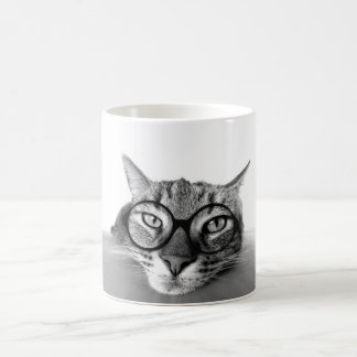 Bored and Sleepy Cat with Glasses Mug