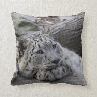 Bored Snow Leopard Cub Throw Pillow