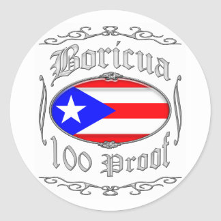 Boricua 100 Proof2 Classic Round Sticker