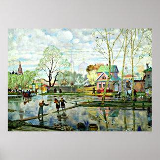 Boris Kustodiev art: Spring, painting by Kustodiev Poster