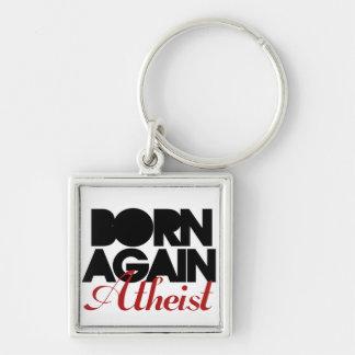 Born Again Atheist Silver-Colored Square Key Ring