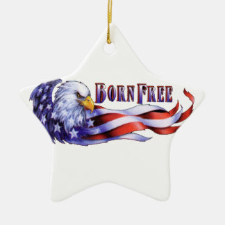 Born Free Bald Eagle And USA Flag Ceramic Star Decoration