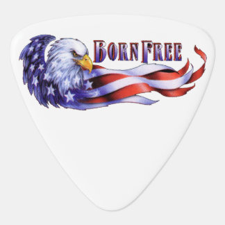 Born Free Bald Eagle And USA Flag Guitar Pick