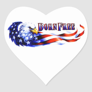 Born Free Bald Eagle And USA Flag Heart Sticker