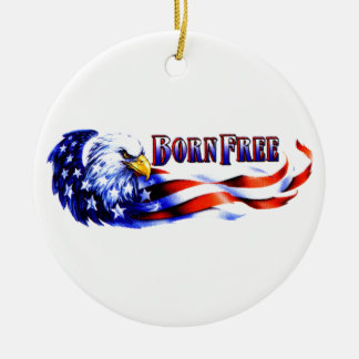 Born Free Bald Eagle And USA Flag Round Ceramic Decoration