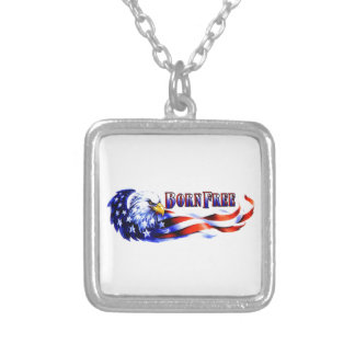 Born Free Bald Eagle And USA Flag Square Pendant Necklace