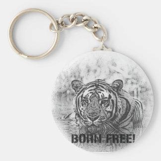 BORN FREE!  TIGER - BLACK / WHITE KEY RING