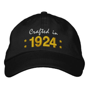 Born In 1924 Or Any Year 90th Birthday V02 BLACK Embroidered Hat