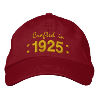 Born in 1925 or Any Year 90th Birthday V03 RED Embroidered Hat