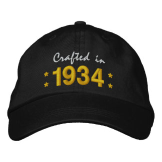 Born in 1934 or Any Year 80th Birthday V02 BLACK Embroidered Hats