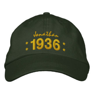 Born in 1936 or Any Year 80th Birthday V07A GREEN Embroidered Hat