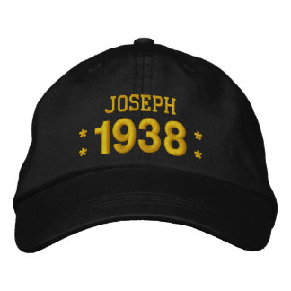 Born in 1938 or Any Year 80th Birthday V09A BROWN Embroidered Hat