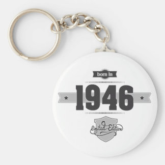 Born in 1946 (Dark&Lightgrey) Basic Round Button Key Ring