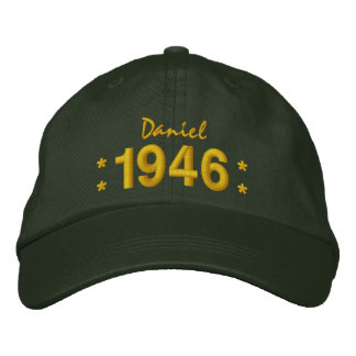 Born in 1946 or Any Year 70th Birthday V07B GREEN Embroidered Hat