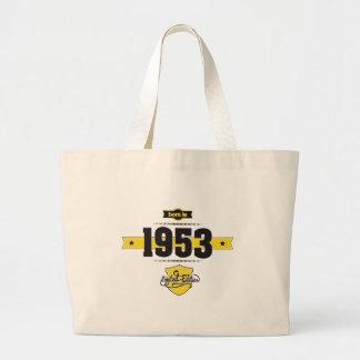 born in 1953 (choco&yellow) large tote bag
