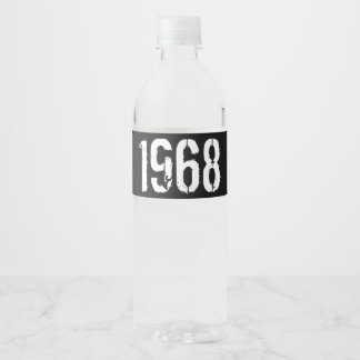 Born in 1968 50th Birthday Year Water Bottle Label