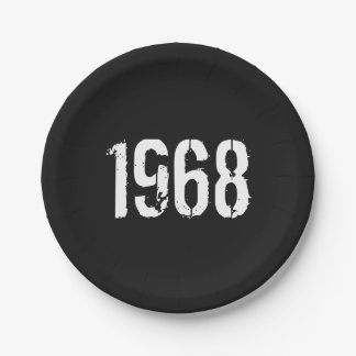 Born in 1968 Birthday Year Paper Plate