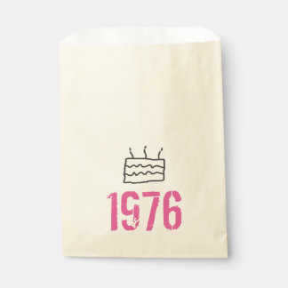 Born in 1976 Birthday Pink Black Favour Bags