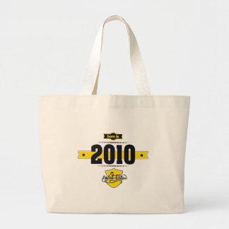 born in 2010 (choco&yellow) large tote bag