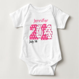 Born in 2014 Big Numbers Pink and White V02 Baby Bodysuit