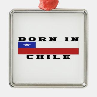 Born In Chile Silver-Colored Square Decoration