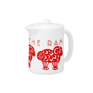 Born in Fire Ram Year Chinese Zodiac Teapot