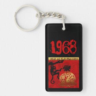 Born in Monkey Year 1968 - Monogram Personalized Key Ring
