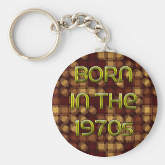 Born in the 1970s basic round button key ring