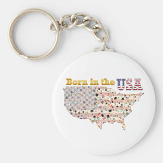 Born in the USA Basic Round Button Key Ring