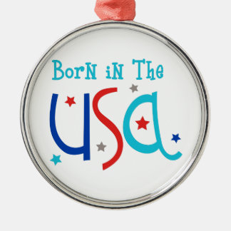 Born In The USA Silver-Colored Round Decoration