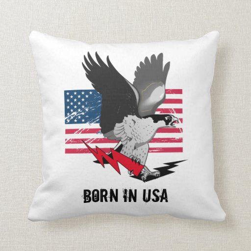 Born In USA design pillow