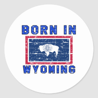 Born in Wyoming. Round Stickers