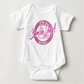 Born On July 4th Baby Clothes It's A Girl Baby Bodysuit