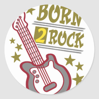 Born  rock Guitar, guitarist design Classic Round Sticker