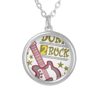 Born  rock Guitar, guitarist design Silver Plated Necklace