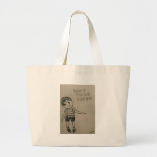 Born to ask tired boy print minimal tote bag