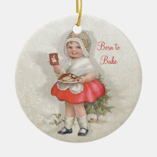Born To Bake Girl Ceramic Ornament