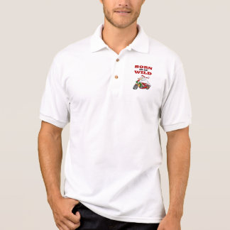 Born to Be Wild Biker Santa Polo Shirt