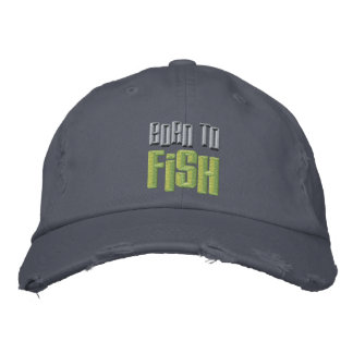 Born to Fish Embroidered Distressed Baseball Cap