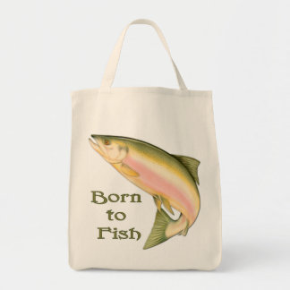 Born to Fish Grocery Tote Bag