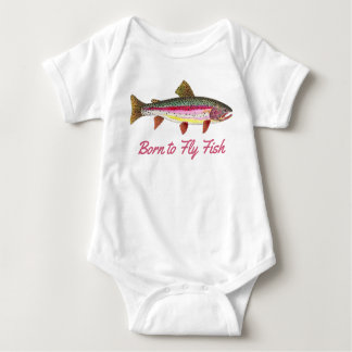 """Born to Fly Fish"" Pink Rainbow Trout Baby Bodysuit"