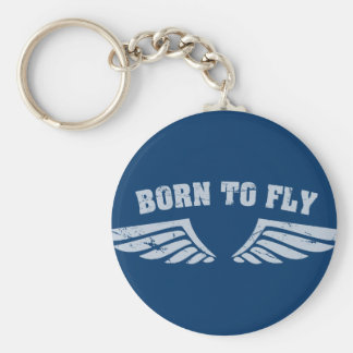 Born To Fly Wings Basic Round Button Key Ring