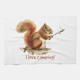 BORN TO GO CAMPING Fun Squirrel Cute Animal Quote Tea Towel