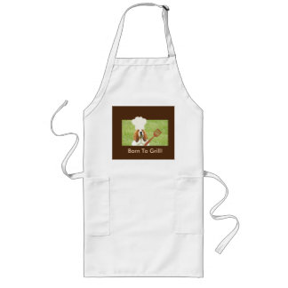 """""""Born to Grill"""" Apron with Basset Chef Long Apron"""