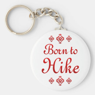 BORN TO HIKE BASIC ROUND BUTTON KEY RING