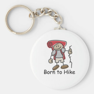 Born to Hike gifts. Basic Round Button Key Ring