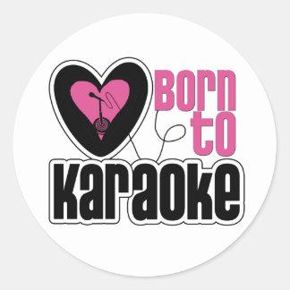 Born to Karaoke Heart Classic Round Sticker
