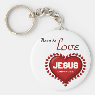 Born to Love Basic Round Button Key Ring
